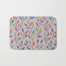 Leafy Twigs - Multicolored on Gray Bath Mat