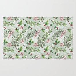 Winter Pine & Berries Repeat Pattern Rug