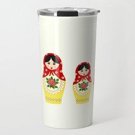Red russian matryoshka nesting dolls Travel Mug