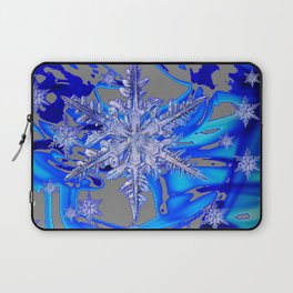 MODERN ROYAL BLUE WINTER SNOWFLAKES GREY ART Laptop Sleeve