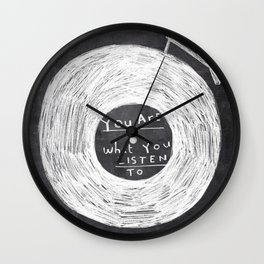 you are what you listen to, BLACK Wall Clock