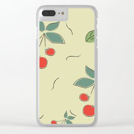 Seamless Pattern With Cherries Clear iPhone Case