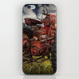 Abandoned Old Farmall Tractor in a Grassy Field on a Farm iPhone Skin