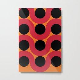 Black Balls on red Elastic Worms in an Orange Background Metal Print