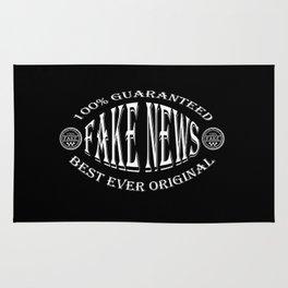 Fake News badge (white on black) Rug