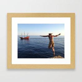 Cliff Jump into the Adriatic Sea Framed Art Print