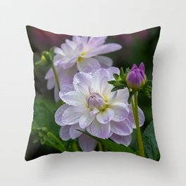 Porcelain Dahlia With Dewdrops Throw Pillow