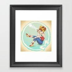 Fishbone Pin-up Framed Art Print