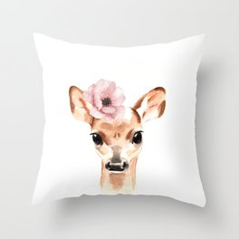 Doe. A female deer. Throw Pillow