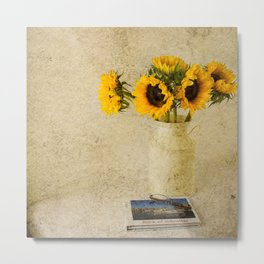 Vintage Sunflowers Metal Print