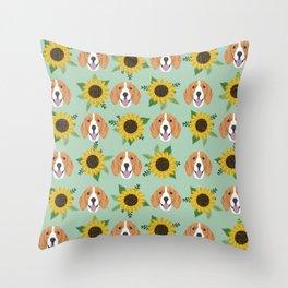 Beagles pattern floral sunflowers dog breed beagle art pet portrait pet friendly dog art Throw Pillow