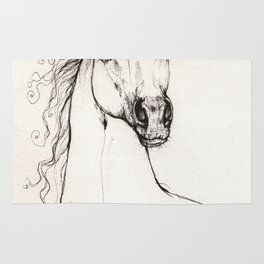Arabian horse drawing Rug