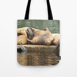 Sleeping Sea Lions Photography Print Tote Bag