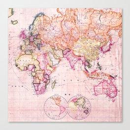 Vintage Map Pattern Canvas Print