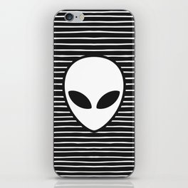 Alien on Black and White stripes iPhone Skin