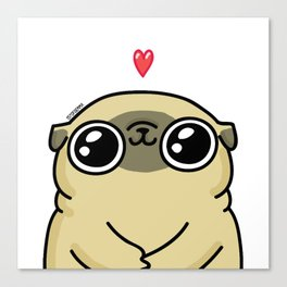 Mochi the pug loves you Canvas Print