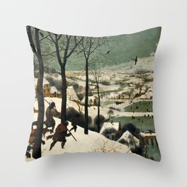 Hunters in the Snow (Winter) Throw Pillow