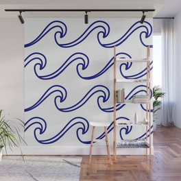 Rough Sea Pattern - blue on white Wall Mural