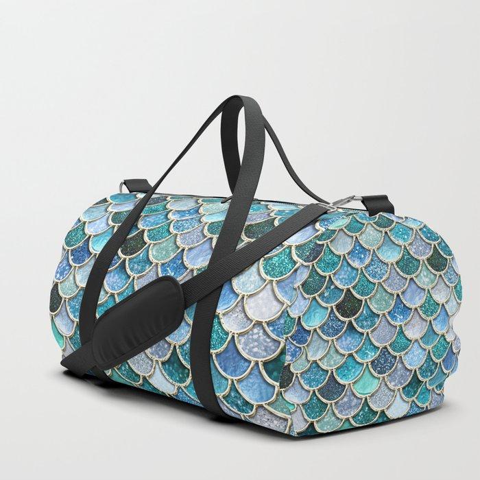 Multicolor Aqua Mermaid Scales - Beautiful Abstract Glitter Pattern Duffle Bag