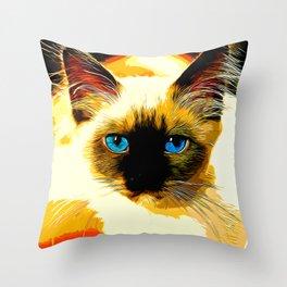 holy birma cat blue eyes vector art Throw Pillow