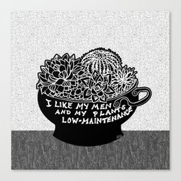 Lo-Maintenance Men & Cacti Black and White Trendy Illustration Canvas Print