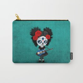Day of the Dead Girl Playing Salvadorian Flag Guitar Carry-All Pouch