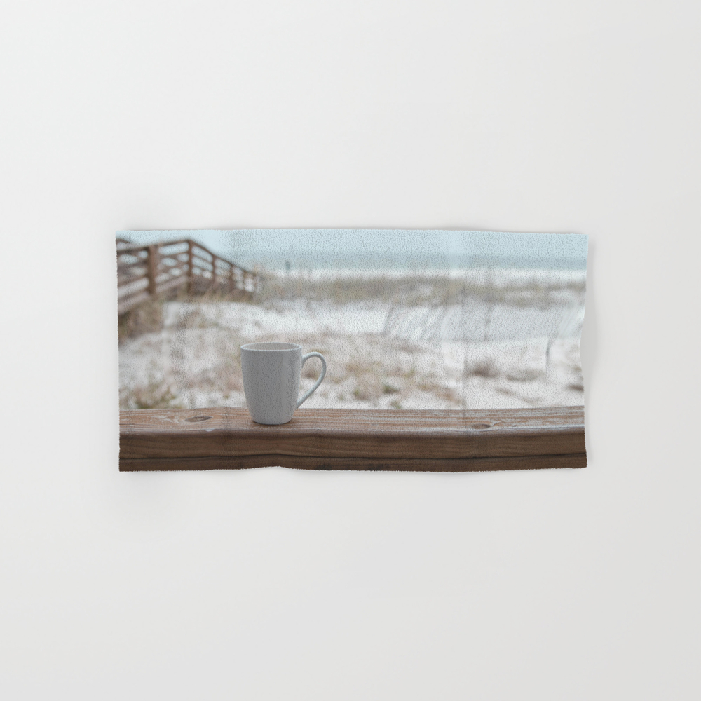 Cuppa At The Beach Hand Towel by Jojo26 BTL9074305