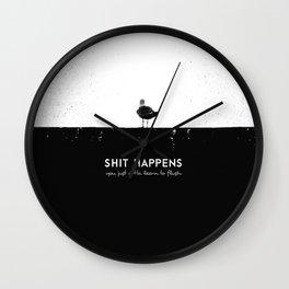 Shit Happens (Black White) Wall Clock