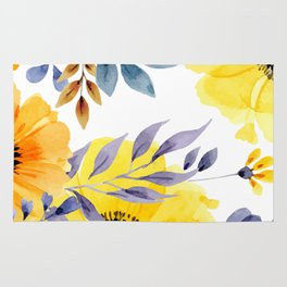 FLOWERS WATERCOLOR 10 Rug