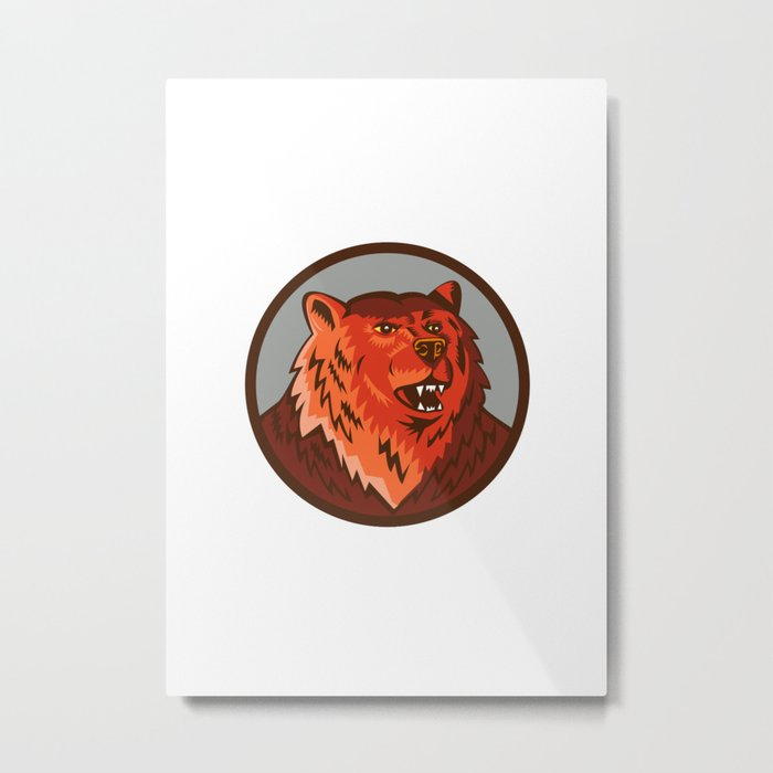 Russian Bear Head Growling Circle Retro Metal Print