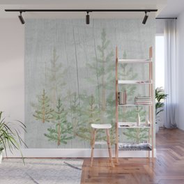 Pine forest on weathered wood Wall Mural