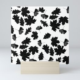 Falling Autumn Leaves in Black and White Mini Art Print