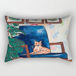 Ginger Cat on Blue Mid Century Chair Painting Rectangular Pillow