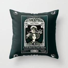 Metamorphosis by The Wolf Man: A Full Service Hair Salon (Vintage) Throw Pillow
