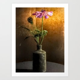 Flower in vase - oil painting by Brian Vegas Art Print