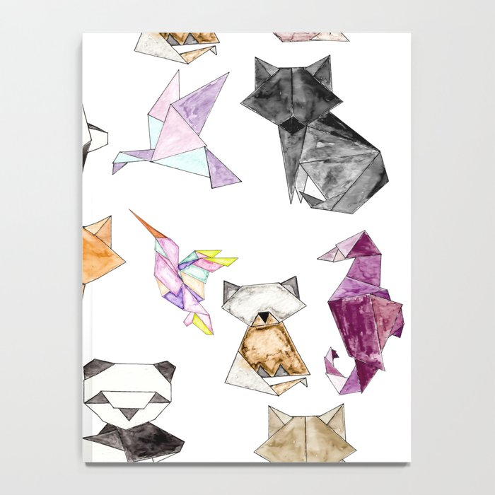 Cute Hand Drawn Geometric Paper Origami Animals Notebook By