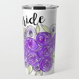 Bride Wedding Bridal Purple Violet Lavender Roses Watercolor Travel Mug