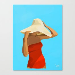 At The Beach: Red Suit Canvas Print