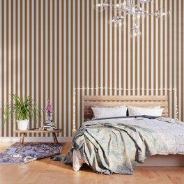 Metallic bronze - solid color - white vertical lines pattern Wallpaper