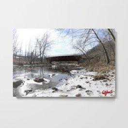 SCHLICHERS COVERED BRIDGE: Winter Metal Print
