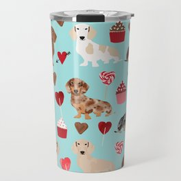 Dachsund dachsie doxie valentines day valentine hearts love cupcakes cute dog gifts Travel Mug
