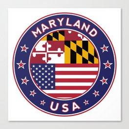 Maryland, Maryland t-shirt, Maryland sticker, circle, Maryland flag, white bg Canvas Print