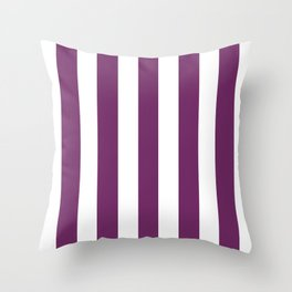 Byzantium violet - solid color - white vertical lines pattern Throw Pillow