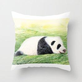 Panda Baby, Watercolor Painting by Suisai Genki Throw Pillow