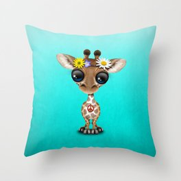Cute Baby Giraffe Hippie Throw Pillow