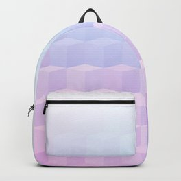 Pastel Cube Pattern Ombre 1 - pink, blue and vi Backpack