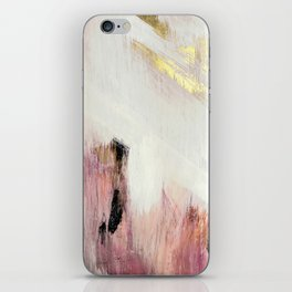 Sunrise [2]: a bright, colorful abstract piece in pink, gold, black,and white iPhone Skin