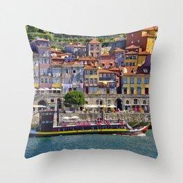 Ribeira houses, Oporto Throw Pillow