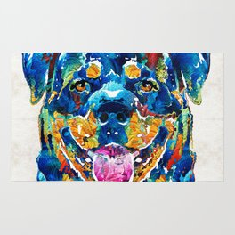 Colorful Rottie Art - Rottweiler by Sharon Cummings Rug