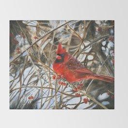 Winter Cardinal by Teresa Thompson Throw Blanket
